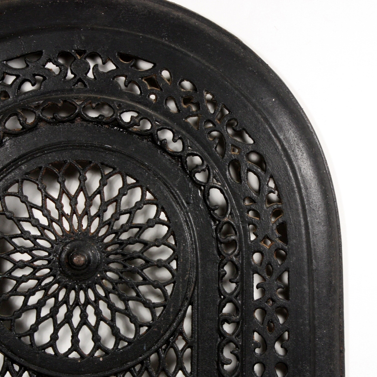iron fireplace cover. Glorious antique cast iron arched fireplace cover  dating from the early 1900 s It features a large circular design in center surrounded by variety Magnificent Antique Cast Iron Arched Summer Cover Early 1900s