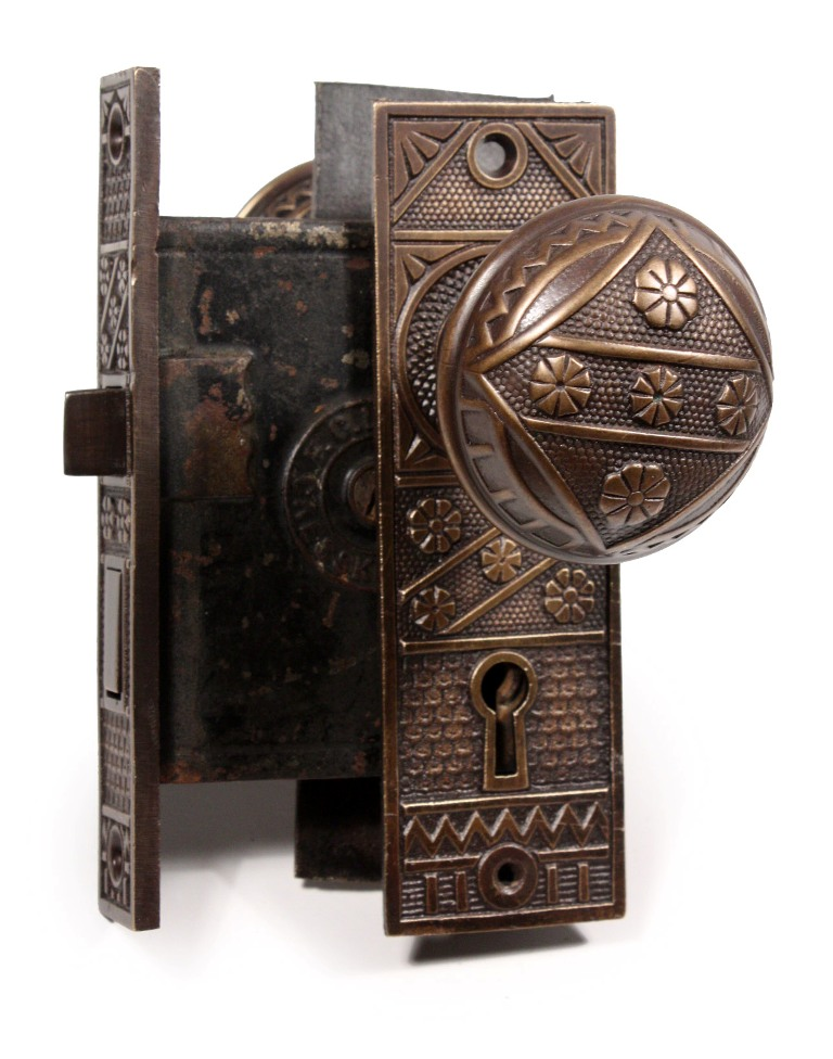 These are three matching complete sets of antique cast bronze door hardware  by F.C. Linde, featuring a five-flower design and including the door knobs,  ... - Three Matching Antique Door Hardware Sets By F. C. Linde, With Knobs