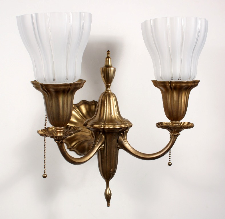 Antique Wall Sconce Glass Shades : Four Matching Antique Brass Sheffield Style Double-Arm Sconces with Glass Shades NSP632 For Sale ...