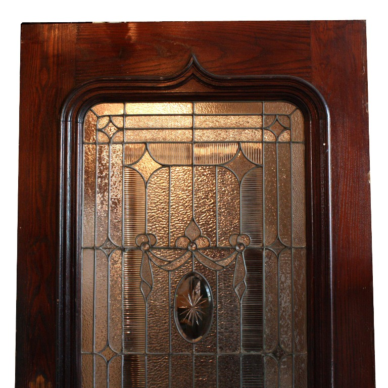 Incredible antique 42 exterior door with beveled and for Exterior glass doors for sale