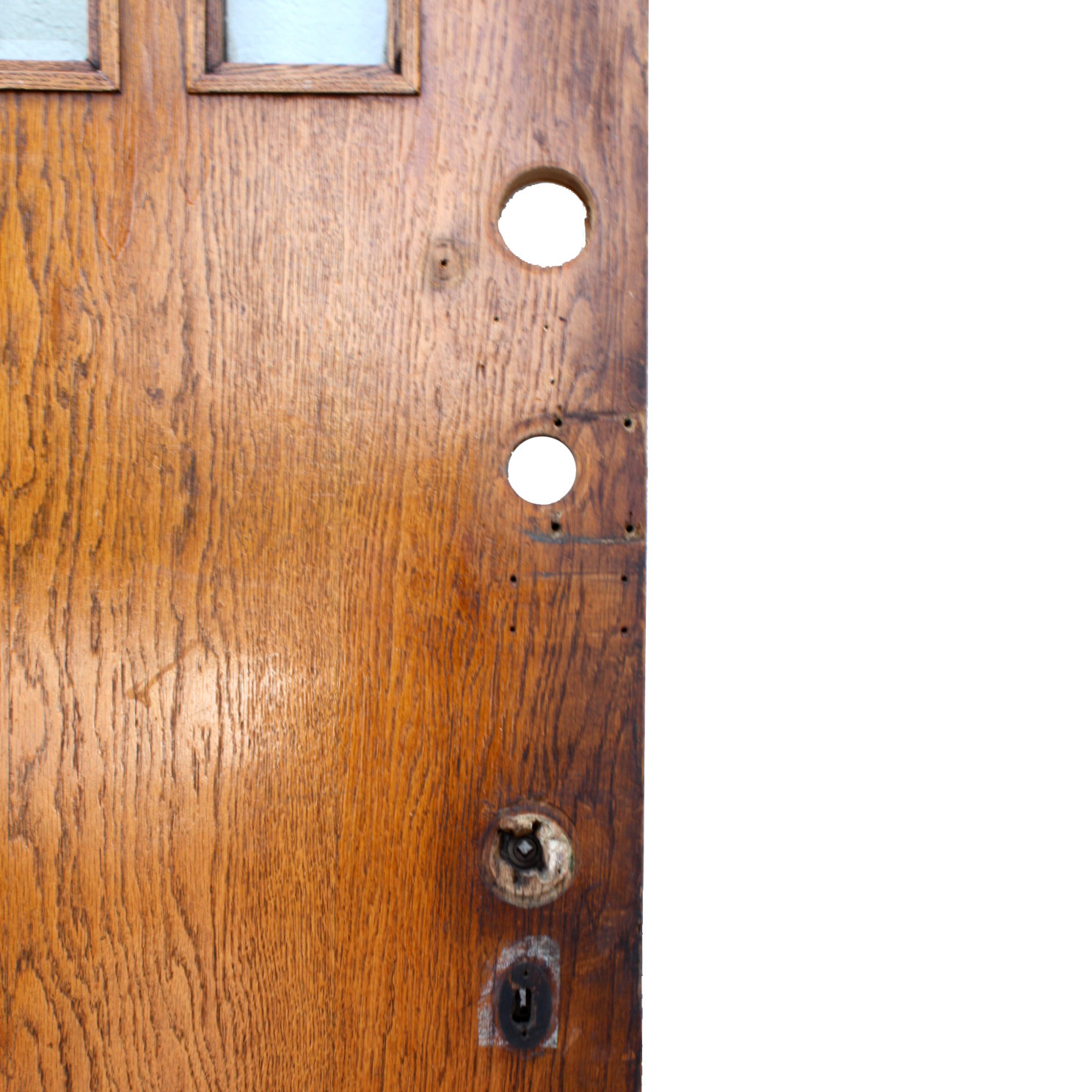 """Salvaged 36"""" Craftsman Entry Door, Oak With Beveled Glass"""