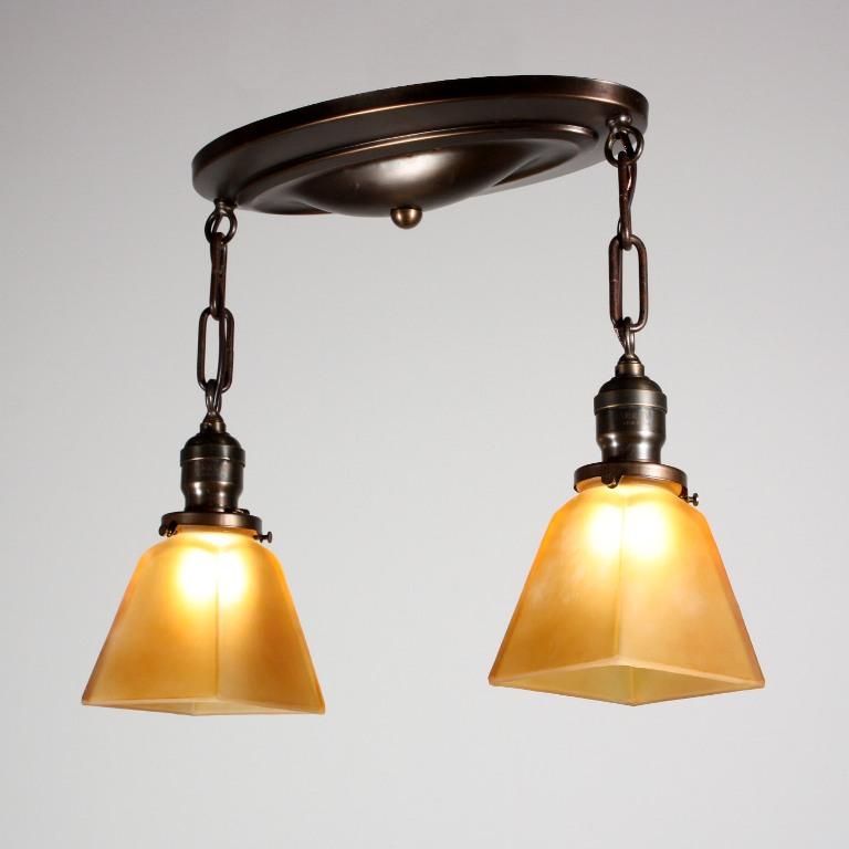 Wonderful antique arts crafts flush mount light fixture for Arts and crafts flush mount lighting
