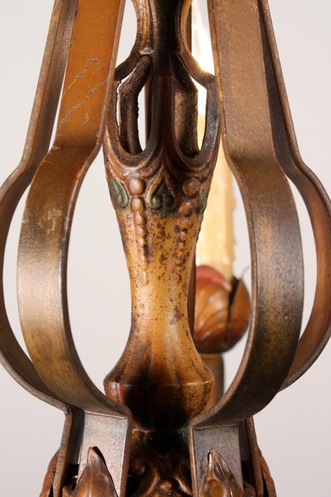 Fabulous Antique Five Light Iron Polychrome Chandelier