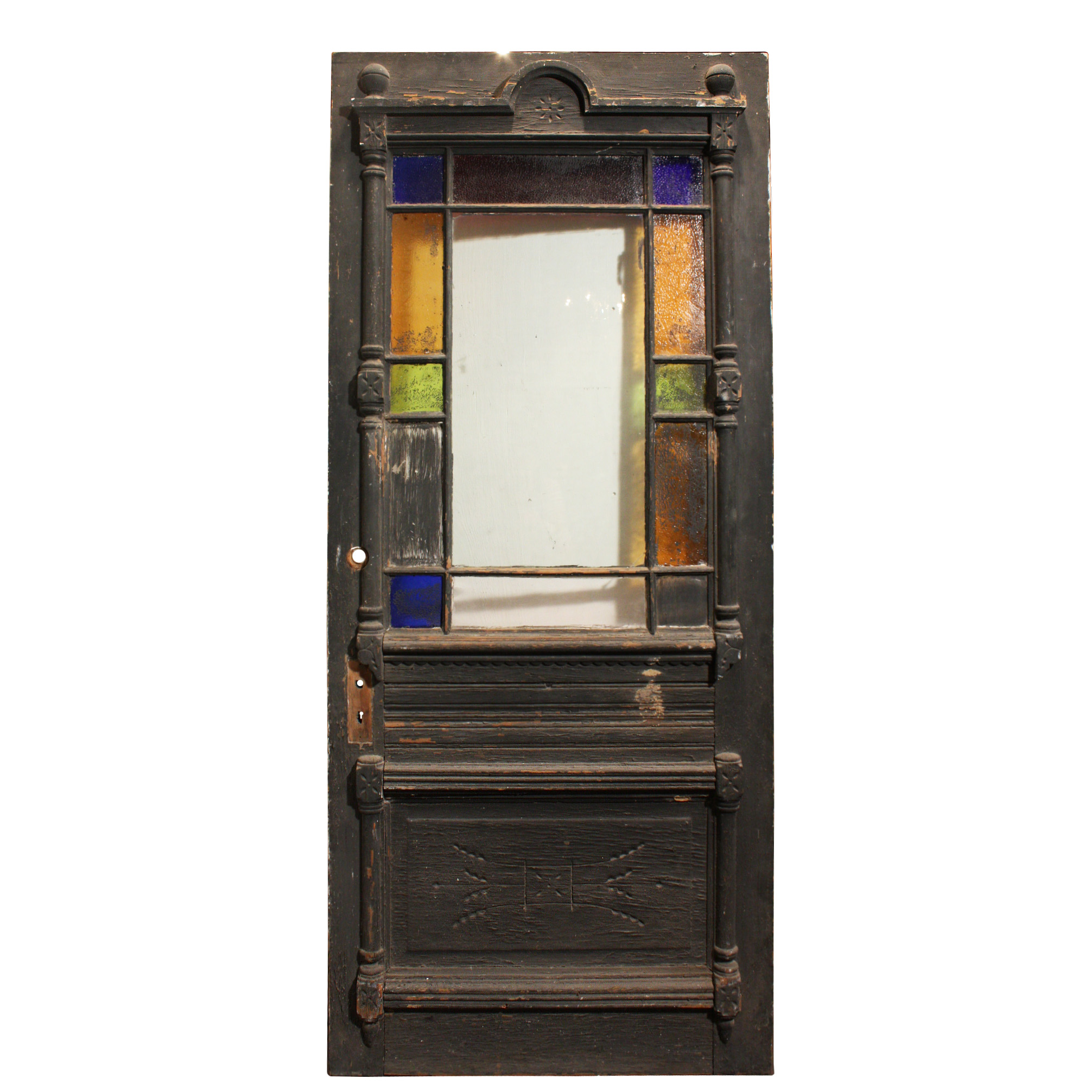 Fabulous Antique Eastlake Door With Stained Glass Border