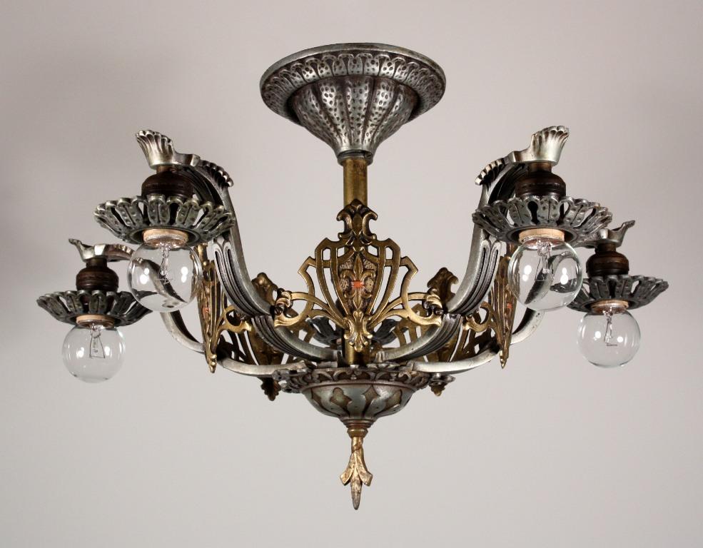Superb Antique Semi Flush Five Light Tudor Chandelier With Fleur De Lis Iron