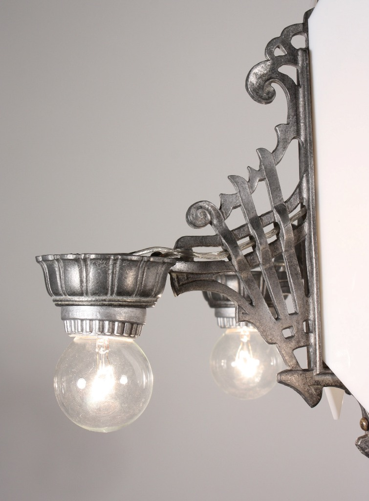 Amazing Antique Art Deco Six Light Chandelier Matching