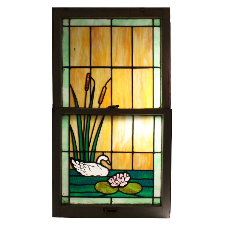 Incredible Antique American Stained Glass Window With Swan