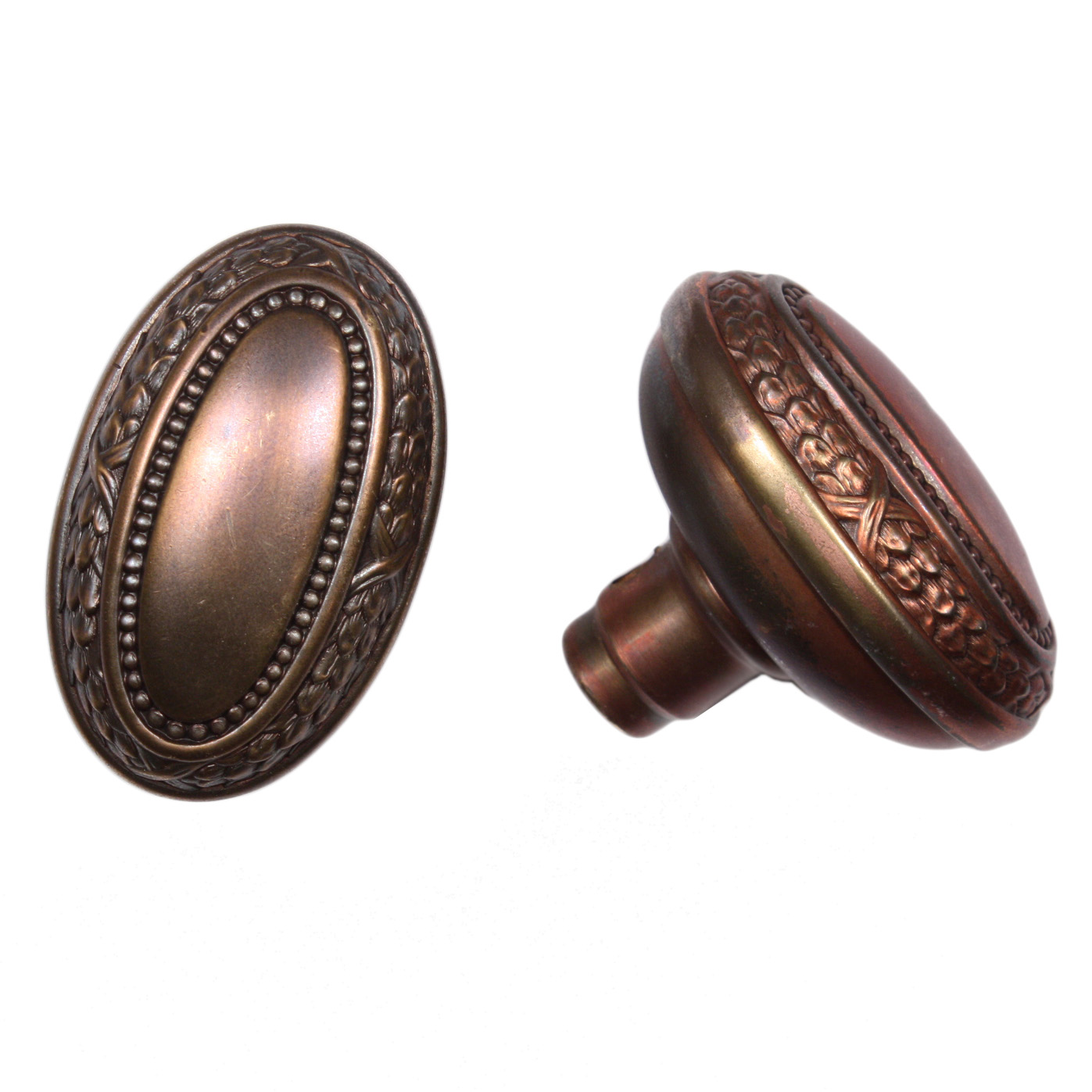 Exceptional Antique Brass Oval Doorknob Sets With Plates, Copper Flashed, Japanned,  NDKS193 RW For Sale | Antiques.com | Classifieds