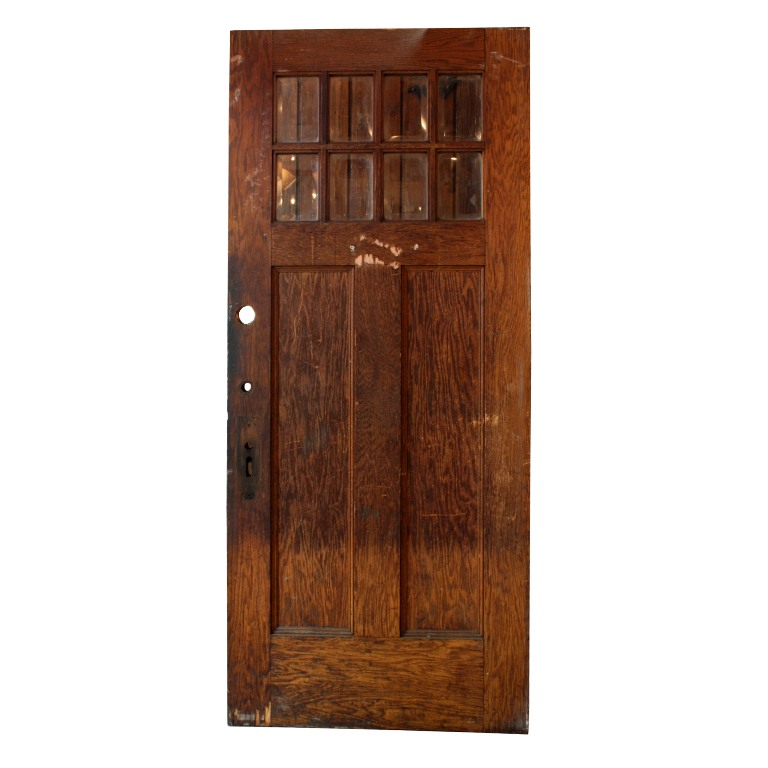 Antique salvaged exterior 36 door with beveled glass for Old wood doors salvaged