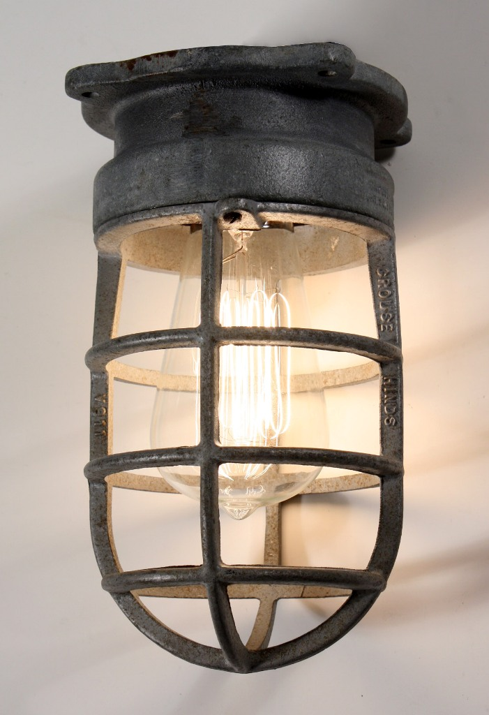 Antique Industrial Cage Light Fixture For Wall Or Ceiling