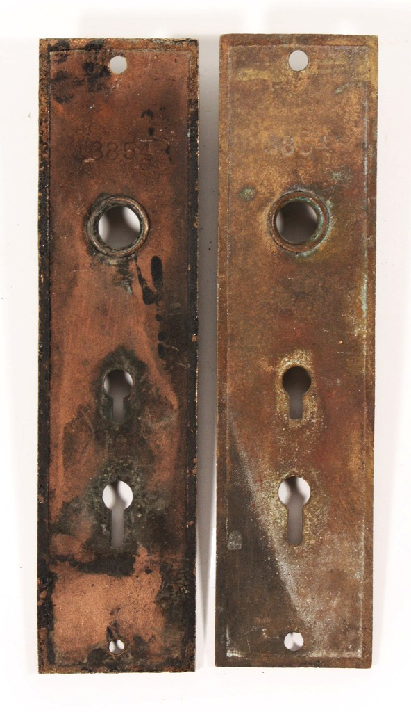 Two Matching Antique Cast Bronze Entrance Doorplates By
