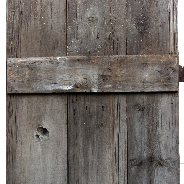 """A fabulous antique barn door salvaged from a farm outside Keokuk, Iowa.  This primitive plank door measures 26-1/2"""" wide, 85"""" tall, and 7/8"""" thick. - Salvaged Plank Door From Barn In Keokuk, Iowa, 26-1/2"""" NED95 For"""