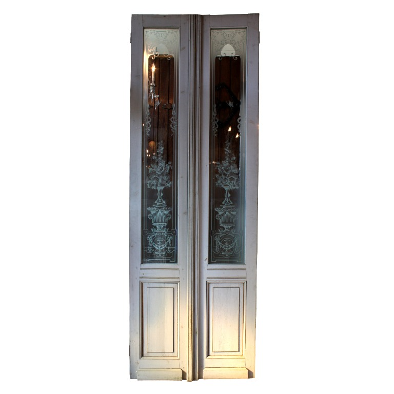 Beautiful antique salvaged 36 exterior double doors with for Exterior glass doors for sale