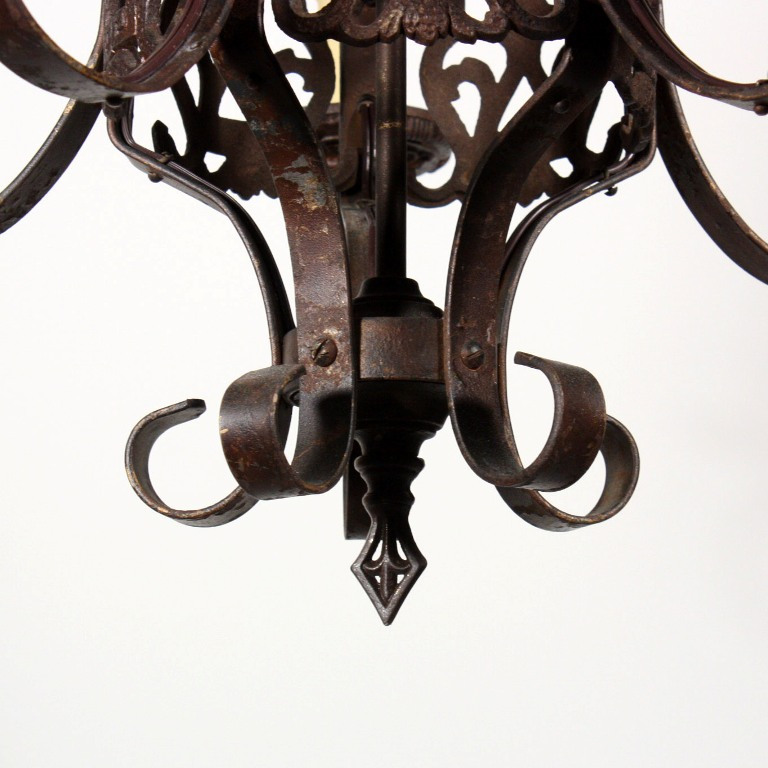 wonderful antique five light spanish revival chandelier with shields