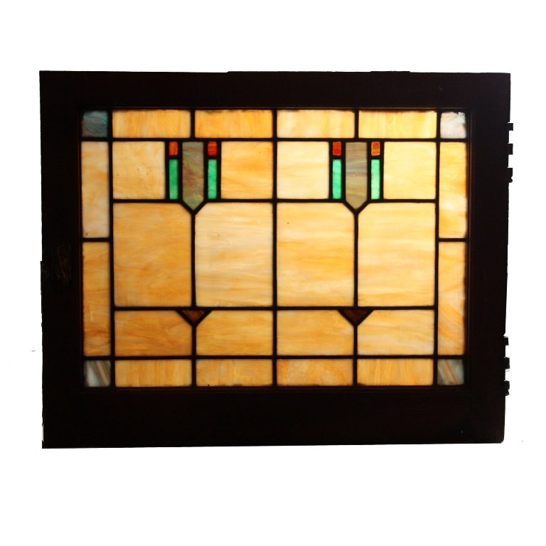 Fantastic antique american geometric stained glass window for 1900 stained glass window