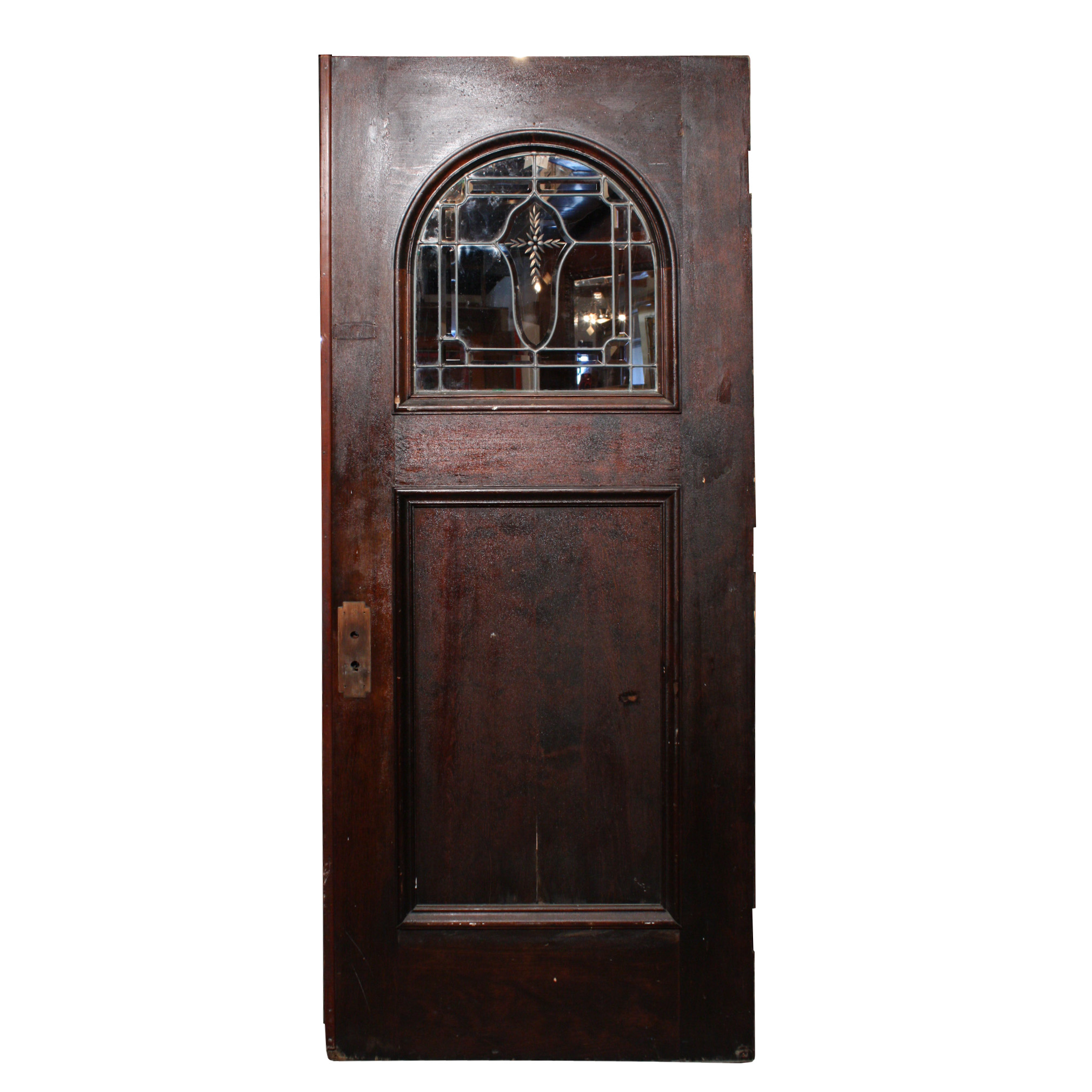 Antique arts crafts 34 exterior door with beveled and leaded glass dentil molding hand cut for Arts and crafts exterior doors