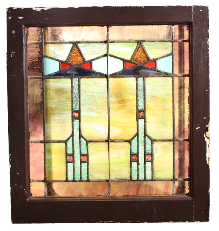 Two Matching Antique American Arts Crafts Stained Glass
