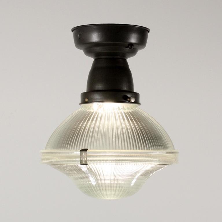Antique Industrial Holophane Semi Flush Mount Light