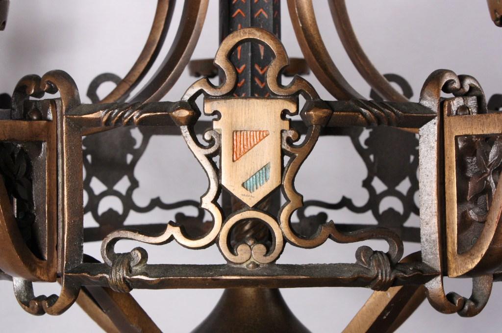 Marvelous Antique Five Light Cast Bronze Chandelier With