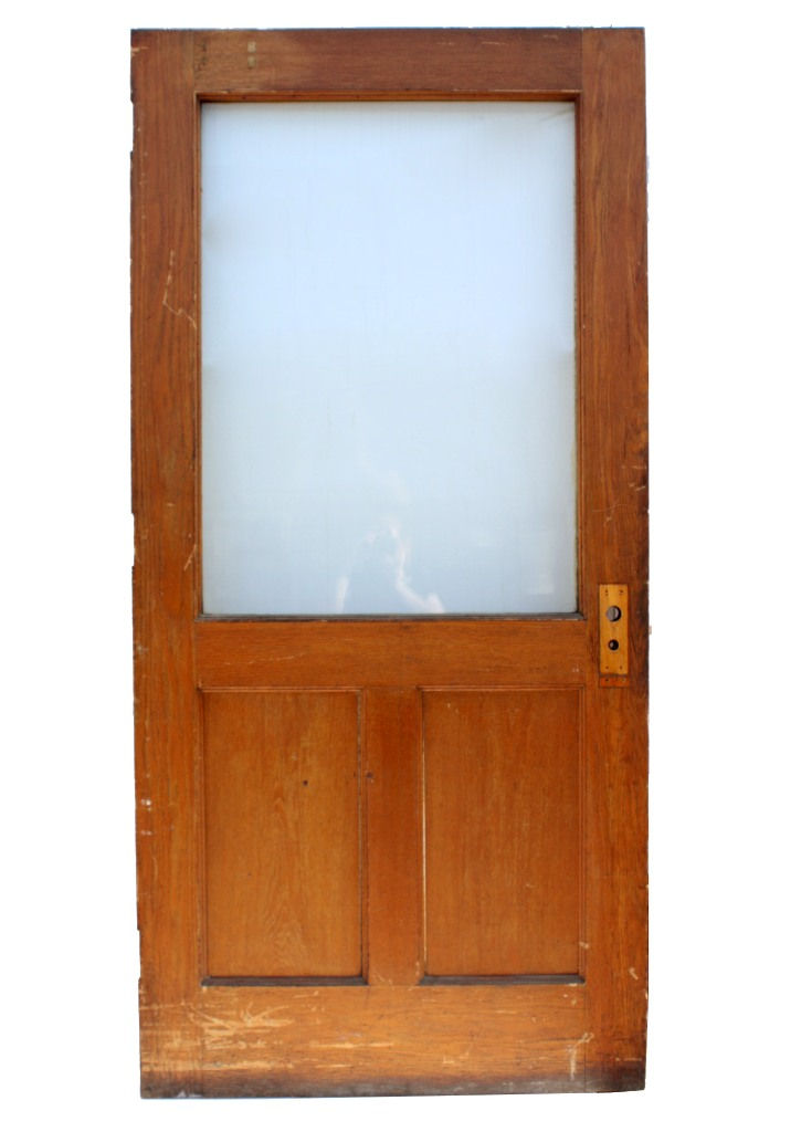 Large Salvaged 40 Exterior Oak Door With Glass NED49 For Sale