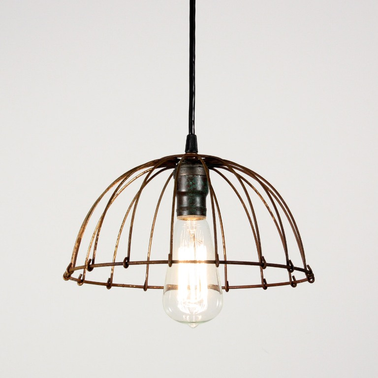 Amazing Matching Industrial Wire Basket Pendant Lights -- FOUR ...