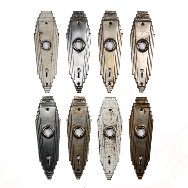 Antique Art Deco skyscraper door backplates, circa 1920's – 1930's. These  door escutcheons feature a ziggurat design with stepped edges. - Fabulous Antique Stepped Art Deco Door Plates NDP141 For Sale