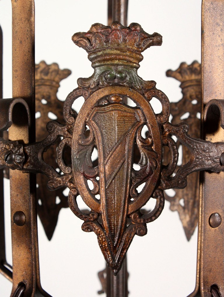 An amazing antique five-light Spanish Revival chandelier with a shield  design, dating from the 1920's. This iron chandelier begins with a loop  finial; ... - Handsome Antique Iron Spanish Revival Five-Light Chandelier With