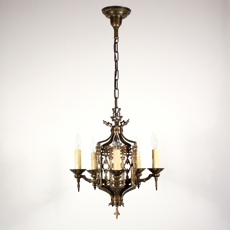 Remarkable Antique Spanish Revival Five Light Chandelier