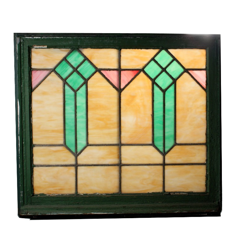 Wonderful antique arts and crafts american stained glass window nsg54