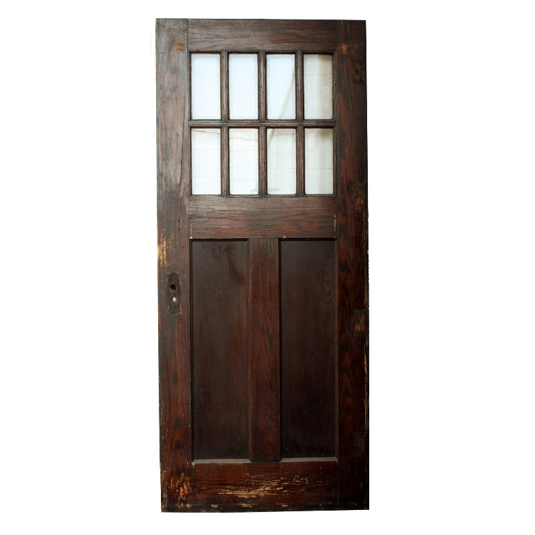 Salvaged Arts Crafts Oak Entry Door With Beveled Glass 36 X 84 NED62