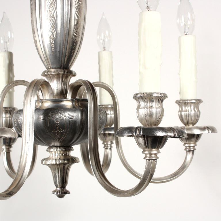 Georgian Chandelier: Elegant Antique Silver Plated Six-Light Georgian