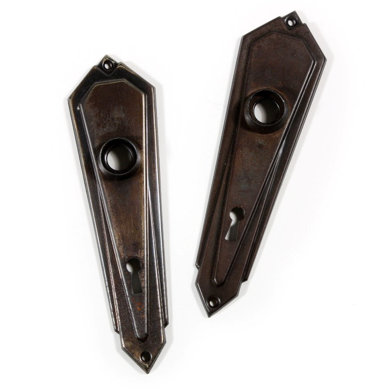 Antique Art Deco Doorknob Sets With Backplates Three