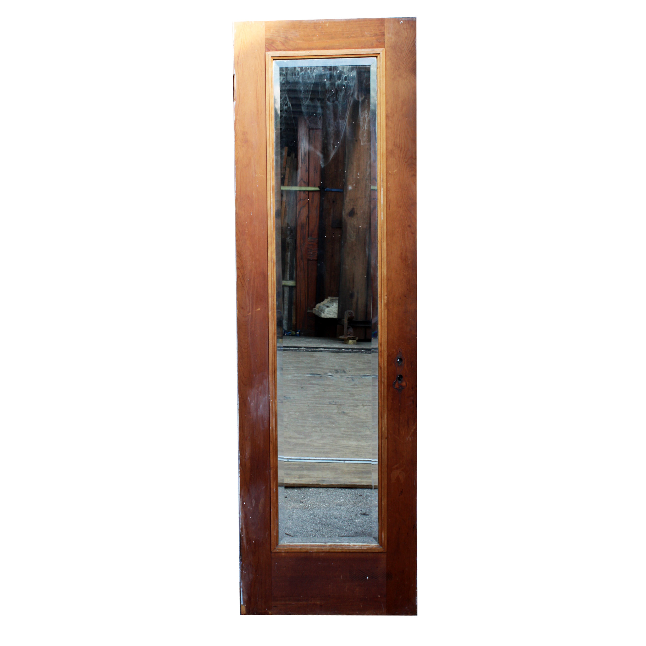 Antique solid wood one panel 24 miracle door with beveled for Vintage solid wood doors