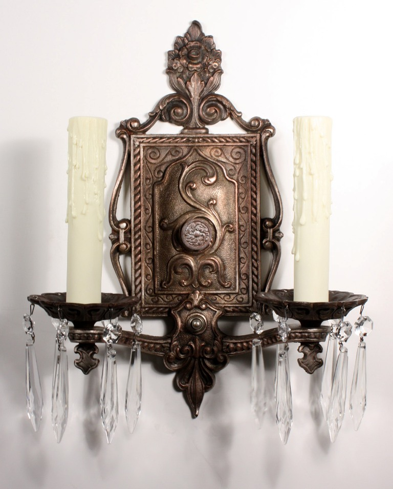 Antique Georgian Wall Sconces : Stunning Pair of Antique Georgian Cast Iron Double-Arm Sconces with Prisms NSP479 For Sale ...