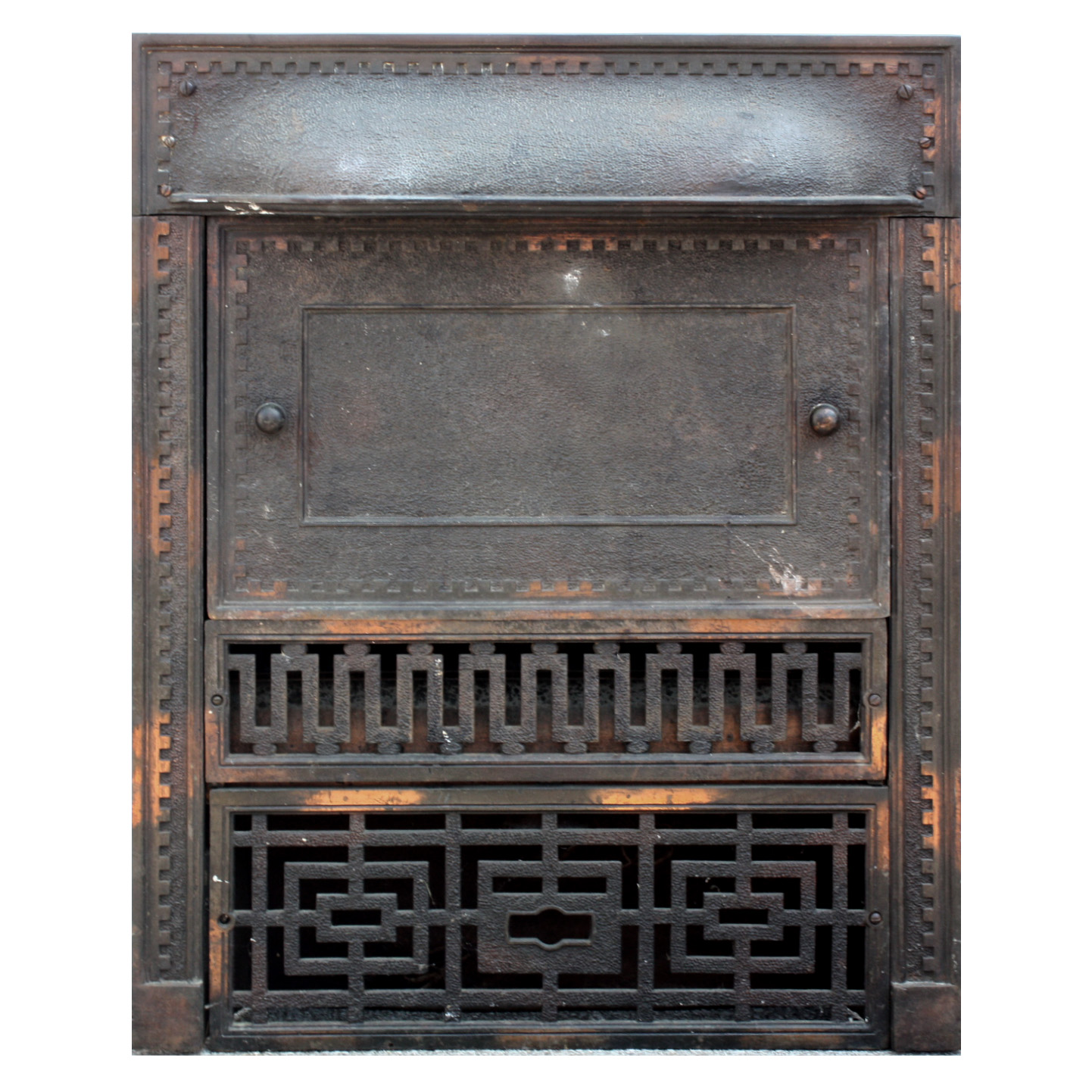 iron fireplace cover. Stunning antique two piece fireplace cover and surround with the original  copper flashed finish circa 1890 s The cast iron features a crenellated Magnificent Antique Cast Iron Fireplace Cover Surround Japanned