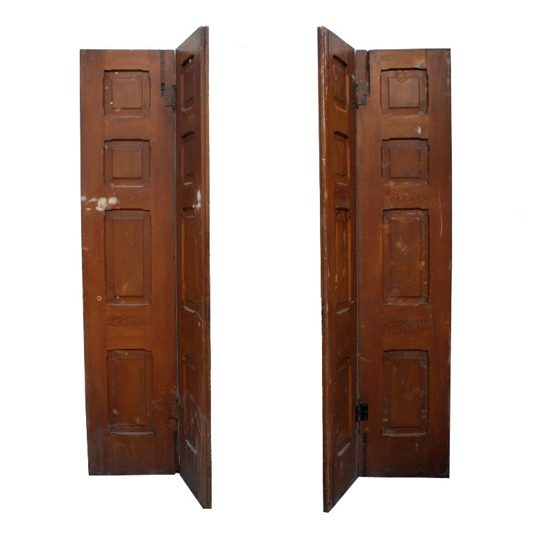 A pair of unusual antique bi-fold doors, circa 1885. Salvaged from Fort  Madison, Iowa, each door features four panels with decorative chamfered  edges and ... - Unusual Pair Of Salvaged 1880's Bi-Fold Doors NED100 For Sale
