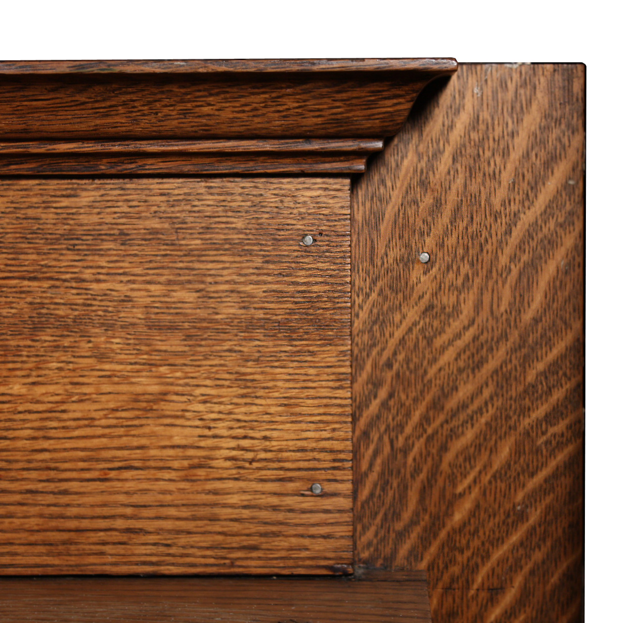 Gorgeous antique tiger oak fireplace mantel, dating from the early 1900s.  The mantel's top edge is beveled, coming down to a lower projecting shelf. - Striking Antique Quarter-Sawn Oak Mantel With Columns NFPM52-RW