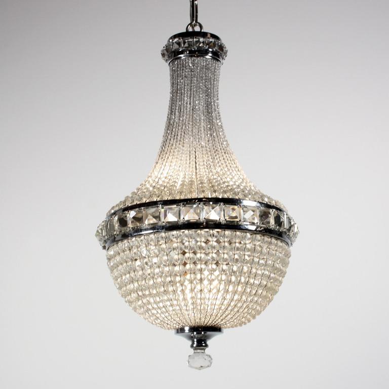 Remarkable Antique Four Light Crystal Basket Chandelier c