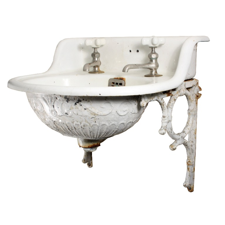 Rare Antique Wall Mount Sink With Decorative Detail 19th
