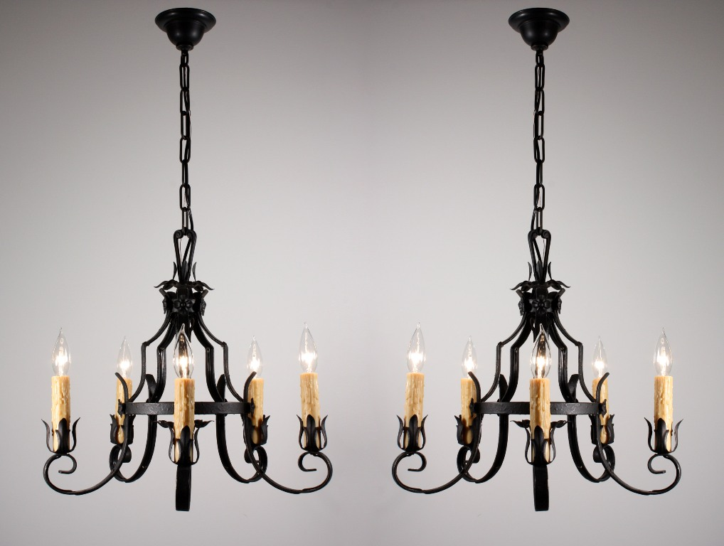 Two matching antique five light wrought iron chandeliers c 1920 s nc952 for sale antiques - Light fixtures chandeliers ...