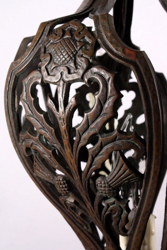 Unusual Antique Six Light Cast Bronze Chandelier With