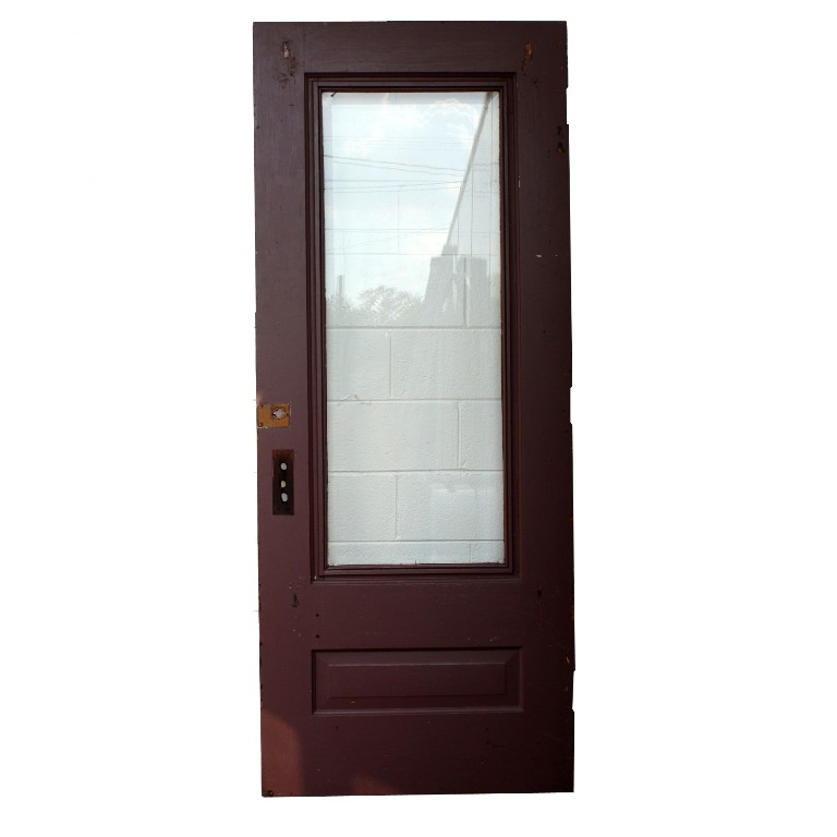 Salvaged 34 X 84 Exterior Door With Dentil Trim Beveled Glass NED65 F