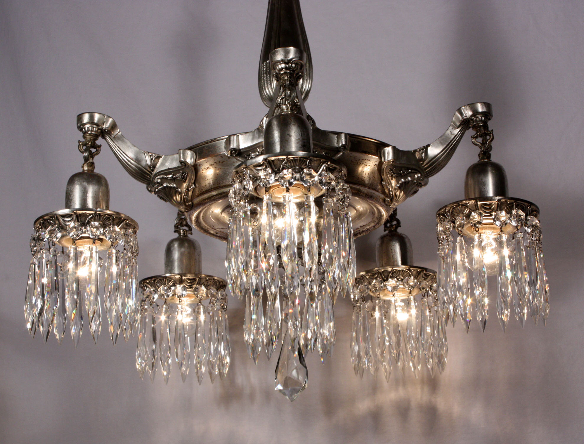 Stunning Antique Neoclassical Five-Light Silver Plated