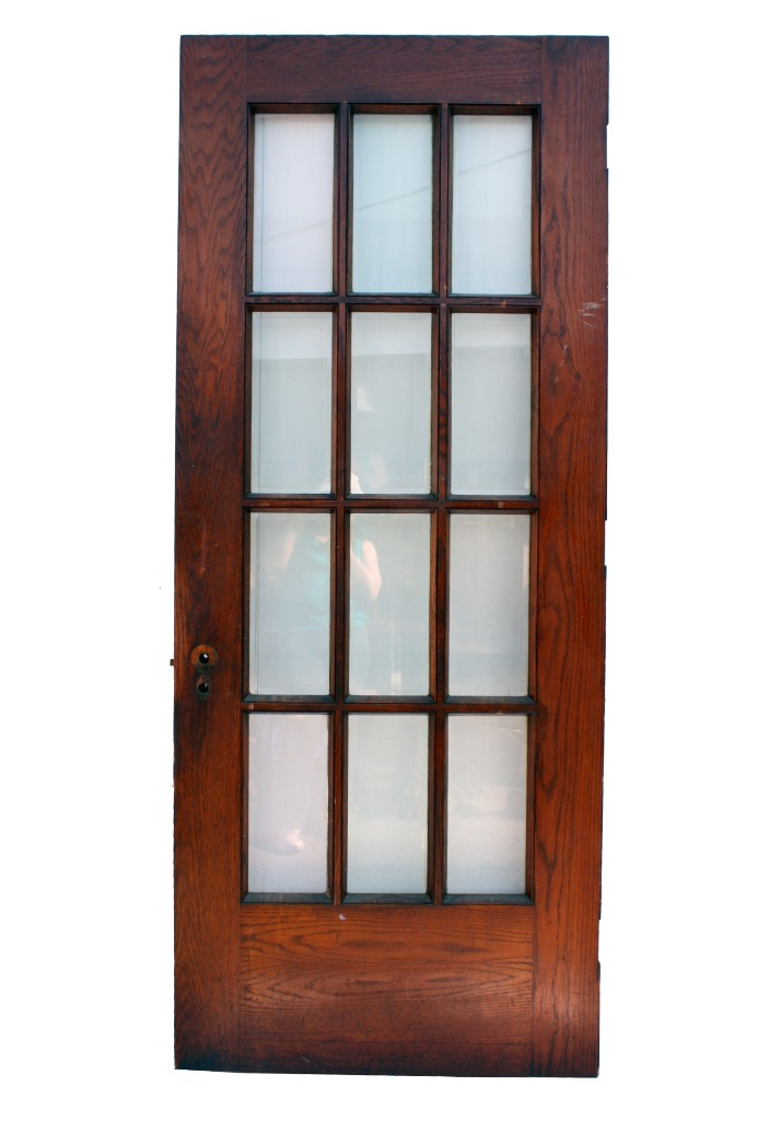 Salvaged 34 exterior oak door with beveled glass ned41 for Exterior glass doors for sale