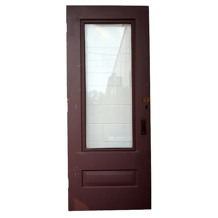 Salvaged 34 Pine Exterior Door With Dentil Trim Beveled Glass NED60 Fo