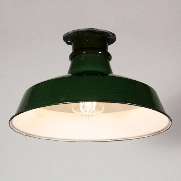 Green Enamel Wall Lights : Three Matching Antique Industrial Flush Mount Lights with Green Enamel & Porcelain Shades NC1419 ...