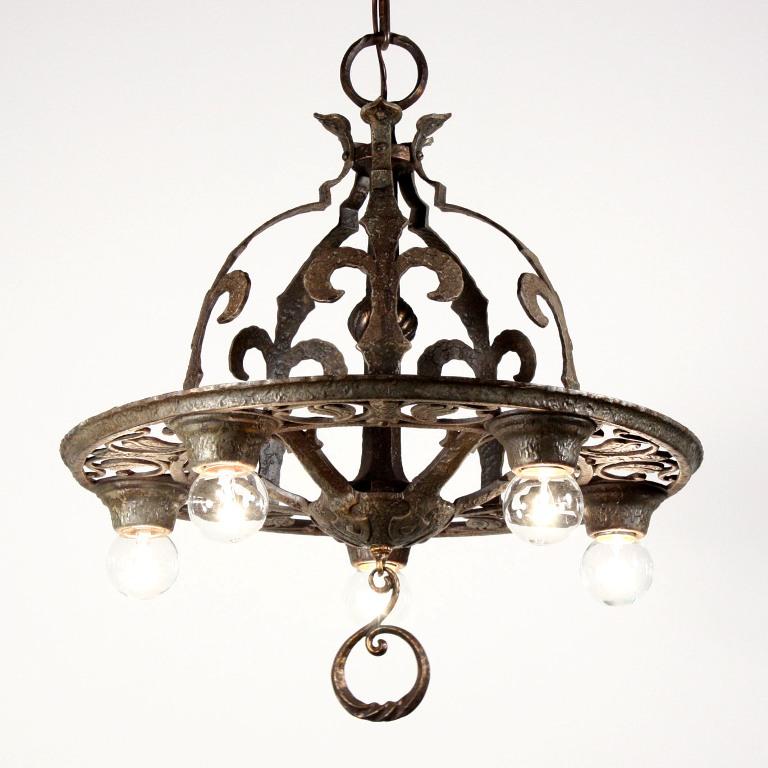 Marvelous Antique Tudor Five Light Chandelier With Fleur De Lis NC1215 For Sa