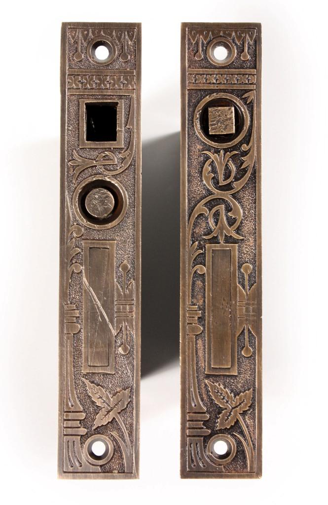 complete antique lockwood u201cbroken leafu201d pocket door hardware set for double doors 1880u0027s npdp15 for sale