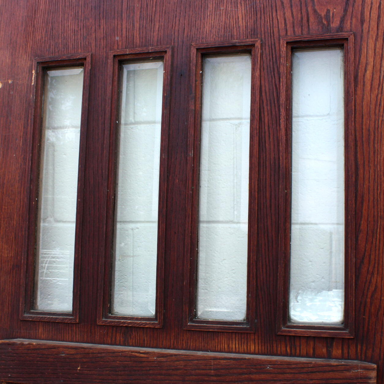 Salvaged 36 craftsman entry door oak with beveled glass for Exterior glass doors for sale