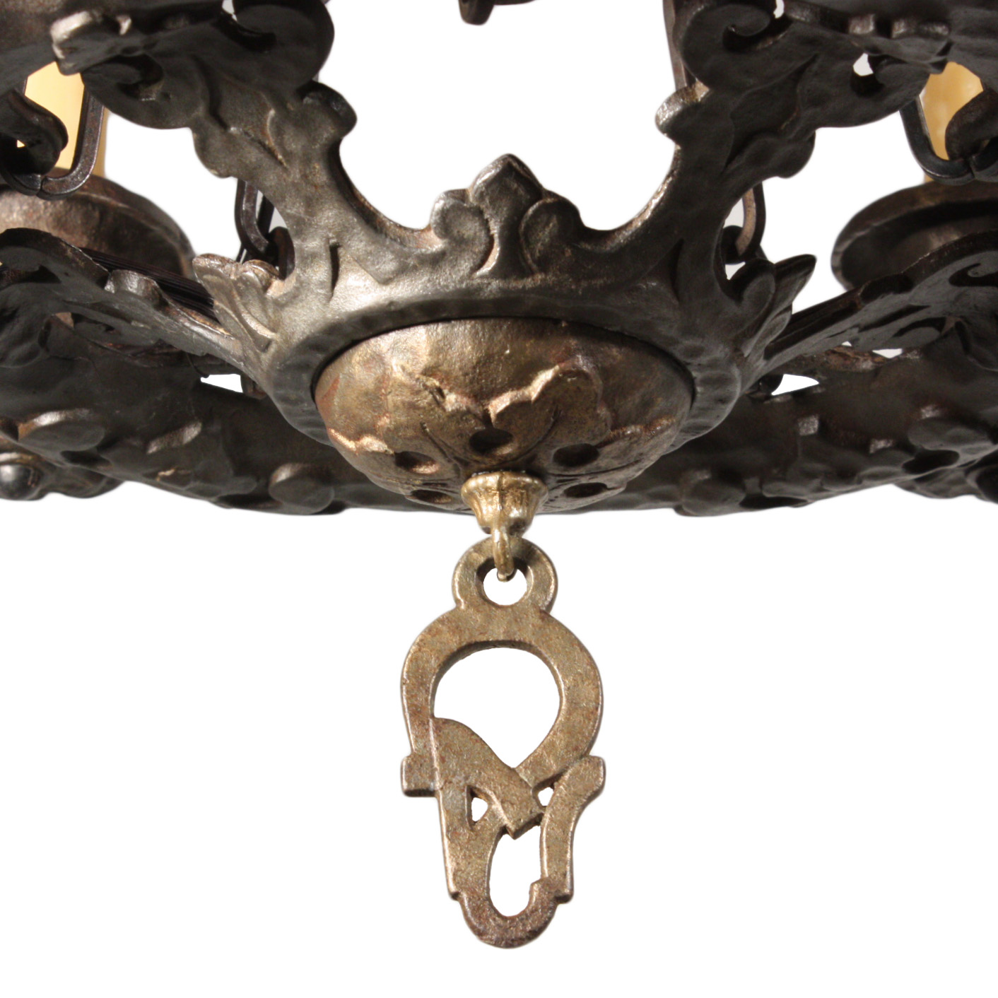 A wonderful antique five-light Tudor chandelier in cast iron, circa 1930.  The chandelier begins with a hammered canopy, coming down in a chain to a  loop ... - Handsome Antique Five-Light Tudor Chandelier, Cast Iron, NC1650-RW